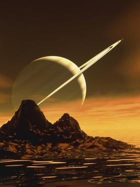 Computer Artwork of Titan's Surface And Saturn by Julian Baum