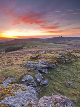 A Colourful Dawn on Chinkwell Tor in Dartmoor National Park, Devon, England, United Kingdom, Europe by Julian Elliott