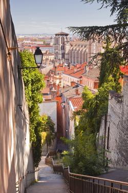 Looking Down onto the Rooftops of Vieux Lyon, Rhone, Rhone-Alpes, France, Europe by Julian Elliott
