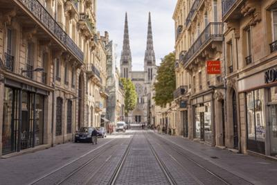 Looking down rue Vital Carles to Saint Andre cathedral in Bordeaux, Aquitaine, France, Europe by Julian Elliott