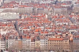 Looking over the Rooftops of the City of Lyon, Rhone-Alpes, France, Europe by Julian Elliott