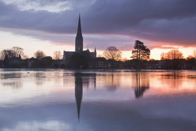 Salisbury Cathedral at Dawn Reflected in the Flooded West Harnham Water Meadows by Julian Elliott