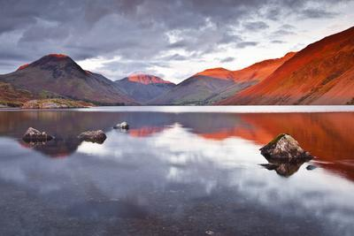 Scafell Range across Reflective Waters of Wast Water, Lake District Nat'l Pk, Cumbria, England, UK