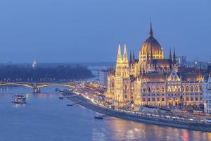 Sitting on the banks of the River Danube, the Hungarian Parliament Building, Budapest by Julian Elliott