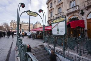 The Art Nouveau Metro Entrance at Saint Michel, Paris, France, Europe by Julian Elliott