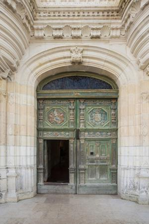 The beautifully decorated entrance door to the chateau at Chenonceau, Indre et Loire, Loire Valley, by Julian Elliott