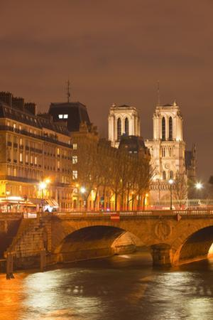 The Ile De La Cite and Notre Dame Cathedral at Night, Paris, France, Europe by Julian Elliott