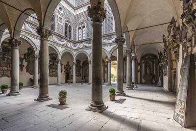 The inner courtyard of the Palazzo Medici Riccardi, Florence, UNESCO World Heritage Site, Tuscany,  by Julian Elliott