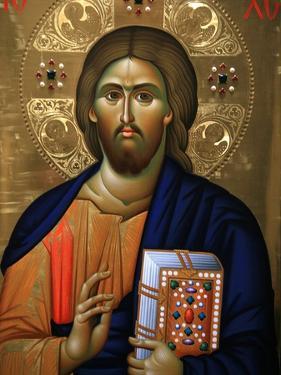 Christ Pantocrator Icon at Aghiou Pavlou Monastery on Mount Athos by Julian Kumar