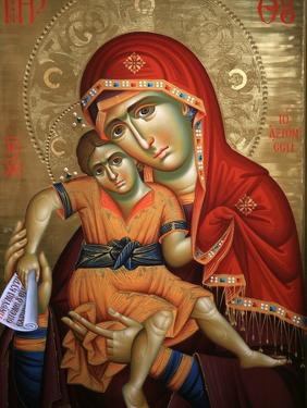 Virgin and Child Icon at Aghiou Pavlou Monastery on Mount Athos by Julian Kumar