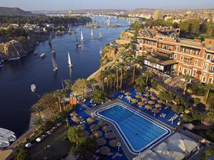 Aswan in Late Afternoon, Old Cataract Hotel in front, Where Agatha Christie Wrote Death, Nile by Julian Love
