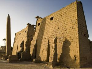 Dawn over the Impressive First Pylon of Luxor Temple, Egypt by Julian Love