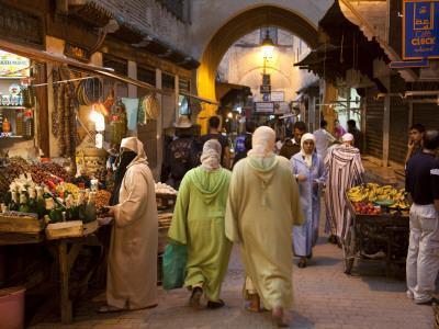 Street Life on Talaa Kbira in the Old Medina of Fes, Morocco