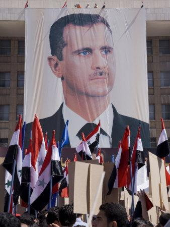Supporters at a Rally in Downtown Damascus Endorsing President Bashar Al-Assad