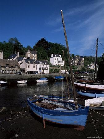 Blue Sailing Dinghy and River Aven, Pont-Aven, Brittany, France