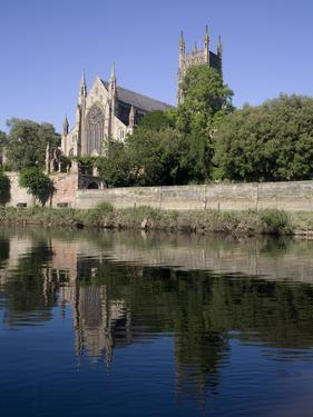 Cathedral West Side and River Severn, Worcester, Worcestershire, England, United Kingdom, Europe by Julian Pottage