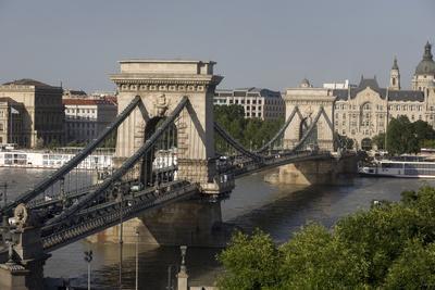 Chain Bridge Seen from Above Clark Adam Square, Budapest, Hungary, Europe