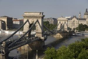 Chain Bridge Seen from Above Clark Adam Square, Budapest, Hungary, Europe by Julian Pottage
