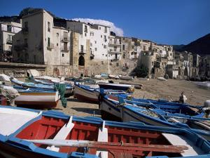 Fishing Harbour and Porta Pescara Beyond, Cefalu, Island of Sicily, Italy, Mediterranean by Julian Pottage