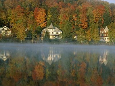 Large Houses Beside Lake Flower at Saranac Lake Town in Early Morning, New York State, USA