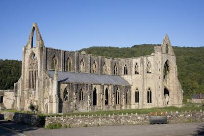 Late afternoon view of South and West sides of Tintern Abbey, Monmouthshire, Wales