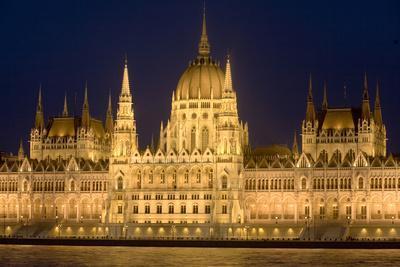 Main Part of Hungarian Parliament on Warm Summer Night, Budapest, Hungary, Europe