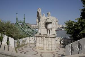 Statue of Saint Stephen Kiraly Near Liberty Bridge, Budapest, Hungary, Europe by Julian Pottage