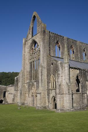 Vertical view of West front and South west corner of Tintern Abbey, Monmouthshire, Wales