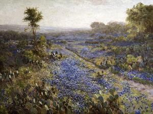 Field of Texas Bluebonnets and Prickly Pear Cacti by Julian Robert Onderdonk