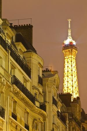The Eiffel Tower Lit Up at Night, Paris, France, Europe