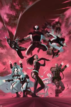 Uncanny X-Force #35 Cover: Psylocke, Archangel, Fantomax, Deathlok, Deadpool, Nightcrawler by Julian Totino Tedesco