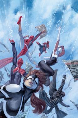 Web Warriors #1 Cover with Spider-Girl, Spider-Ham, Spider-Gwen, Spider-Man Noir, & More by Julian Totino Tedesco