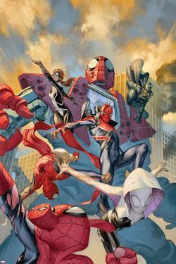Web Warriors No. 8 Cover Art with Spider-Man Noir, Spider-Punk, Spider-Gwen, Spider-Ham and More by Julian Totino Tedesco
