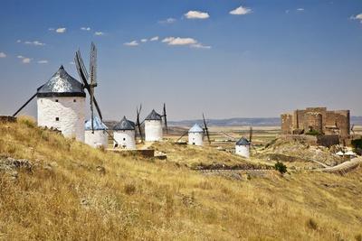 Antique La Mancha Windmills and Castle in Consuegra, Spain