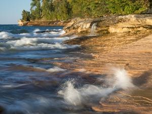 Small Waterfall along the Edge of Miner's Beach at Lake Superior in Pictured Rocks National Seashor by Julianne Eggers