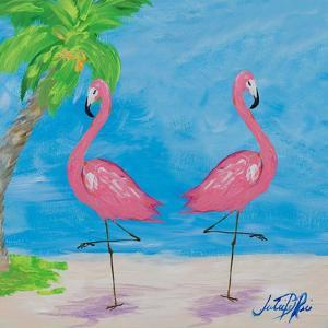 Fancy Flamingos IV by Julie DeRice