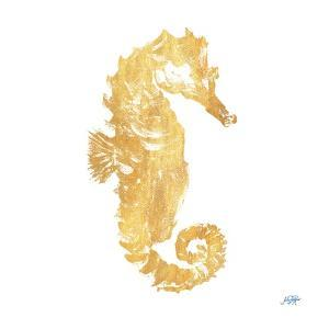 Gold Square Seahorse I by Julie DeRice