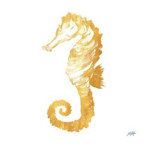 Gold Square Seahorse II by Julie DeRice