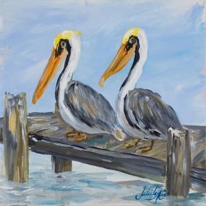 Pelicans on Deck by Julie DeRice