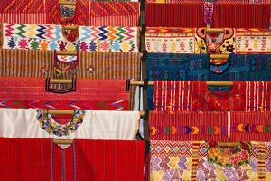 Guatemala, Antigua. Huipils in a shop in Antigua. A huipil by Julie Eggers