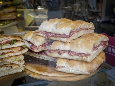 Italy, Florence. Ready made sandwiches for sale in the Central Market, Mercato Centrale in Florence