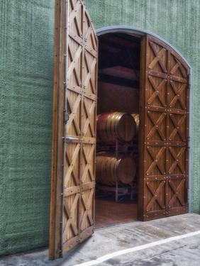 Italy, Tuscany. Beautiful wooden doors leading to a barrel room at a winery. by Julie Eggers