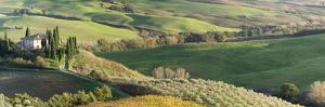 Italy, Tuscany, San Quirico Dorcia. Scenic View of Il Belvedere House by Julie Eggers