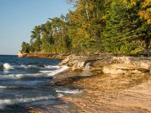 Michigan, Upper Peninsula. Waterfall Along the Edge of Lake Superior by Julie Eggers