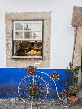 Portugal, Obidos. Cute bicycle planter in front of a bakery in the walled city of Obidos. by Julie Eggers