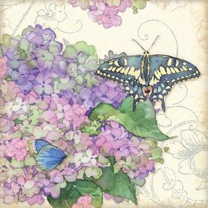 Hydrangea & Butterflies by Julie Paton