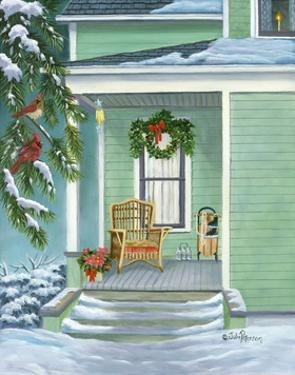 Cardinals and Christmas Porch by Julie Peterson