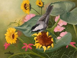 Chickadee and Sunflowers by Julie Peterson