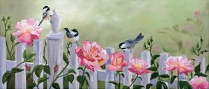 Chickadees and Pink Roses by Julie Peterson