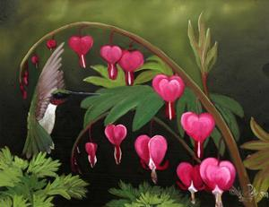 Hummer and Bleeding Hearts by Julie Peterson